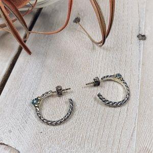 David Yurman | Blue/Green Topaz Cble Hoop Earrings